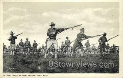 Bayonet Drill, Camp Devens - Ayer, Massachusetts MA Postcard