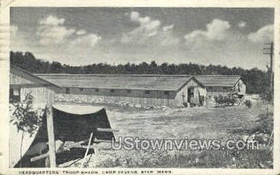 Headquarters' Troop Sheds - Ayer, Massachusetts MA Postcard