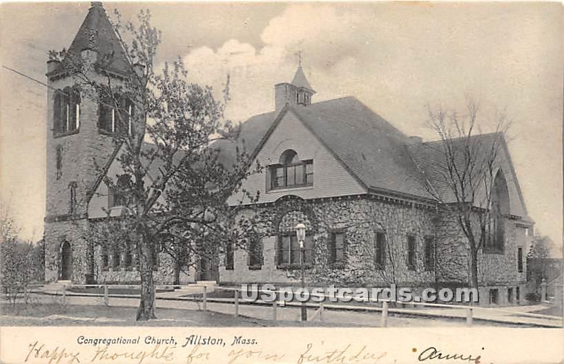 Congregational Church - Allston, Massachusetts MA Postcard