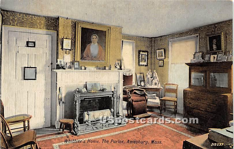 The Parlor in Whittier's Home - Amesbury, Massachusetts MA Postcard