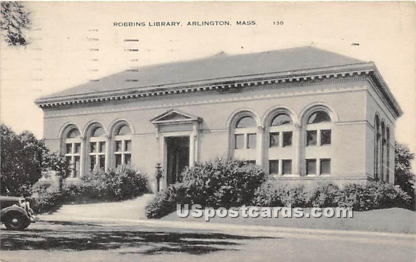 Robbins Library - Arlington, Massachusetts MA Postcard