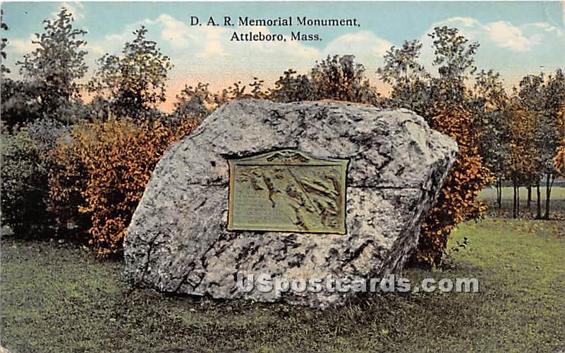 DAR Memorial Monument - Attleboro, Massachusetts MA Postcard