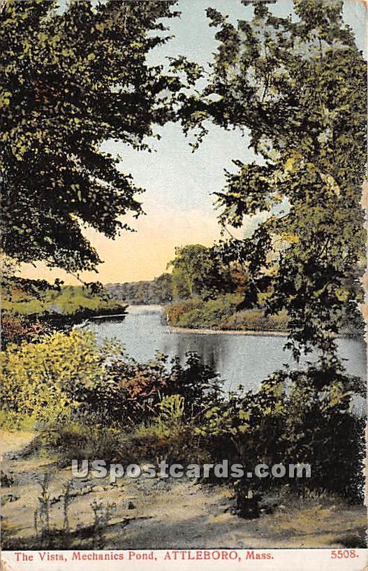 The Vista and Mechanics Pond - Attleboro, Massachusetts MA Postcard