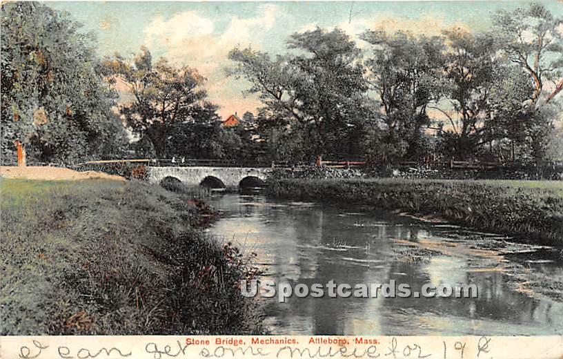 Stone Bridge and Mechanics Pond - Attleboro, Massachusetts MA Postcard