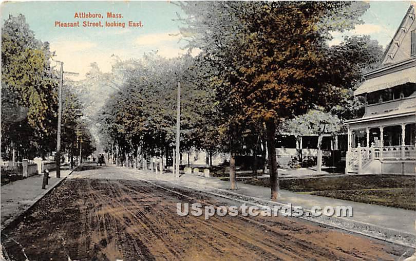 Pleasant Street Looking East - Attleboro, Massachusetts MA Postcard