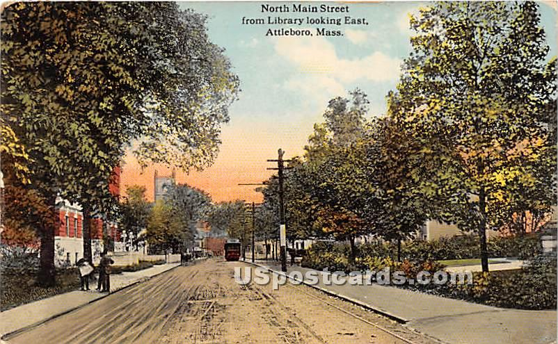 North Main Street from Library looking East - Attleboro, Massachusetts MA Postcard