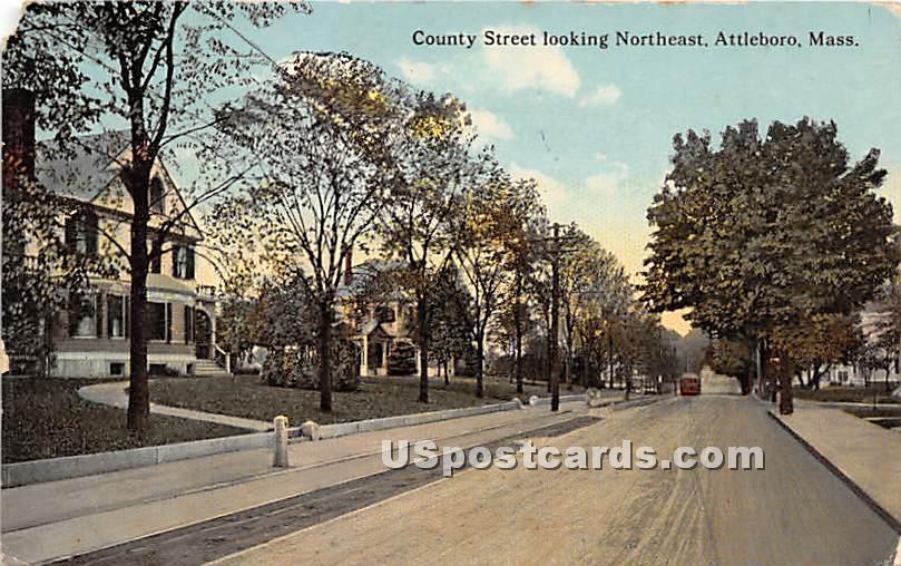 County Street looking Northeast - Attleboro, Massachusetts MA Postcard