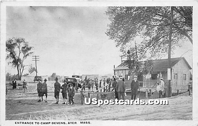 Entrance to Camp Devens - Ayer, Massachusetts MA Postcard