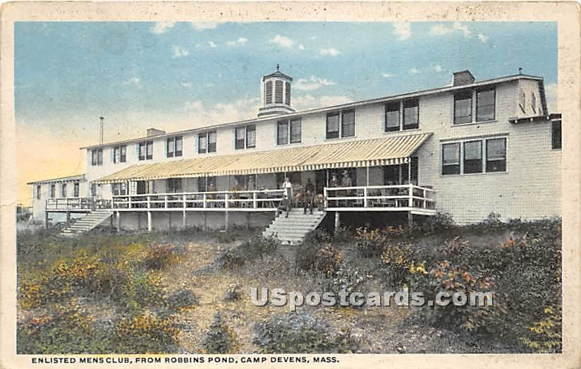 Enlisted Men Club from Robbins Pond at Camp Devens - Ayer, Massachusetts MA Postcard