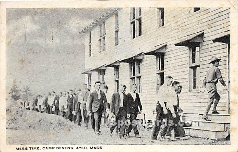Mess Time at Camp Devens - Ayer, Massachusetts MA Postcard