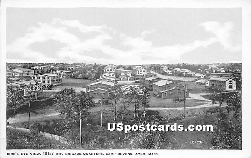 151st Inf Brigade Quarters at Camp Devens - Ayer, Massachusetts MA Postcard