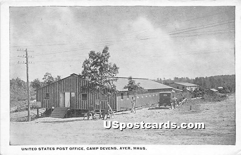 United States Post Office at Camp Devens - Ayer, Massachusetts MA Postcard