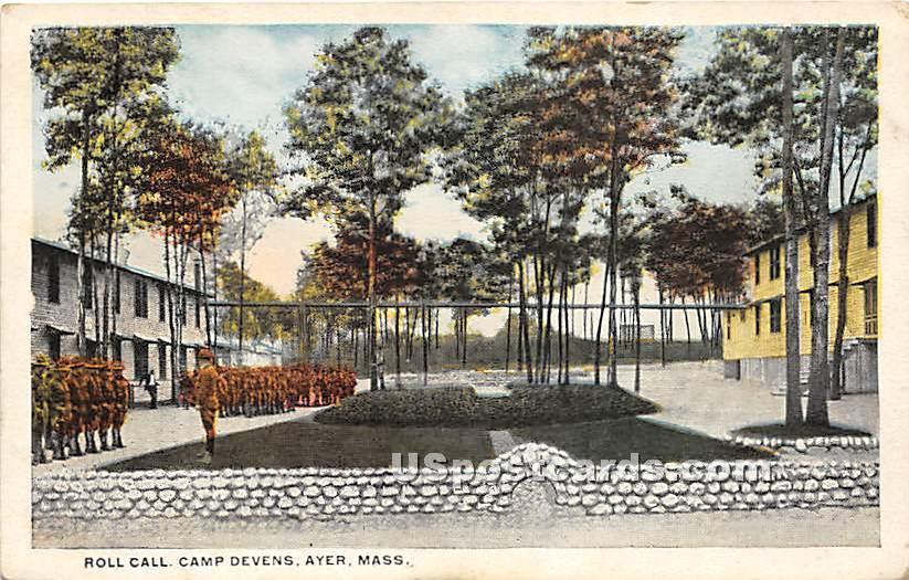 Roll Call at Camp Devens - Ayer, Massachusetts MA Postcard