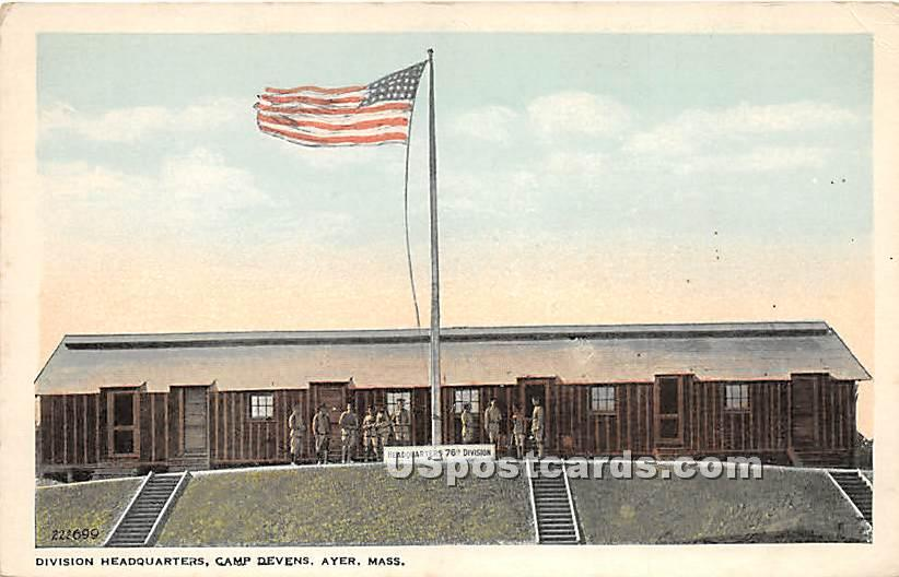 Division Headquarters at Camp Devens - Ayer, Massachusetts MA Postcard