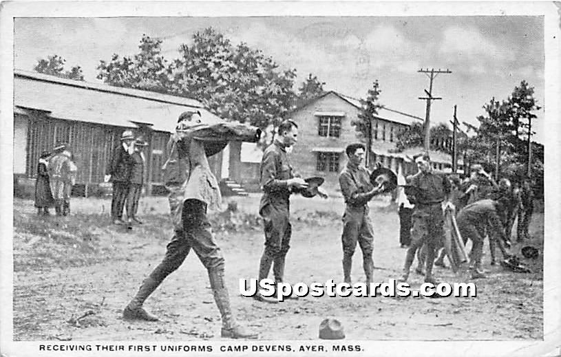 Receiving Their First Uniforms at Camp Devens - Ayer, Massachusetts MA Postcard