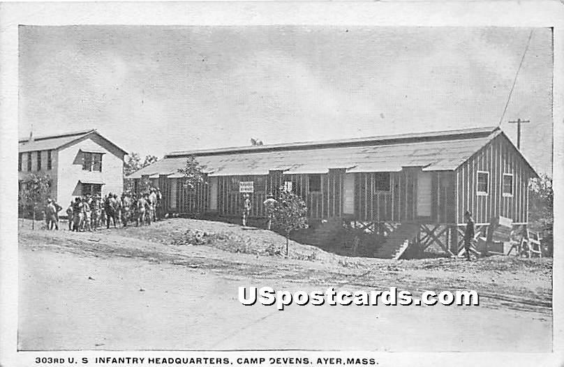 303rd Infantry Barracks at Camp Devens - Ayer, Massachusetts MA Postcard