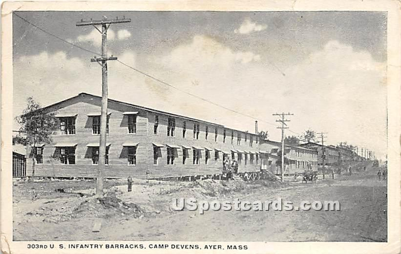 303rd US Infantry Barracks at Camp Devens - Ayer, Massachusetts MA Postcard