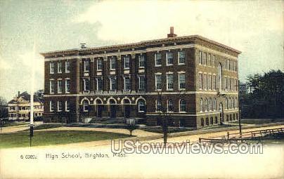High School - Brighton, Massachusetts MA Postcard