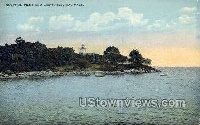 Hospital Point & Light - Beverly, Massachusetts MA Postcard