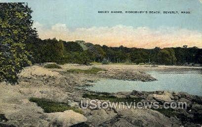 Rocky Shore, Woodbury's Beach - Beverly, Massachusetts MA Postcard
