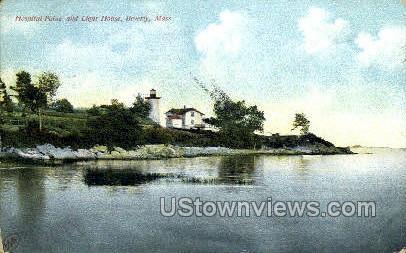 Hospital Point & Light House - Beverly, Massachusetts MA Postcard