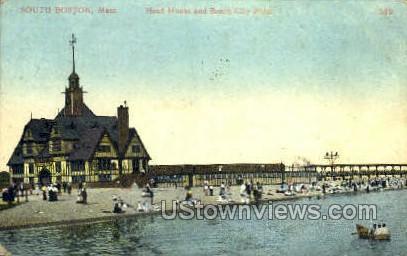Head House & Beach - Boston, Massachusetts MA Postcard