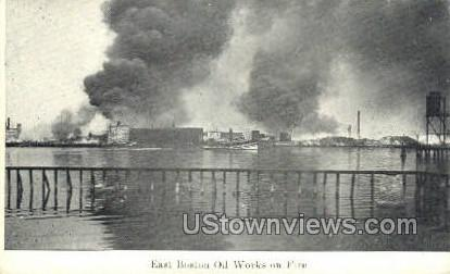 East Boston Oil Works on Fire - Massachusetts MA Postcard