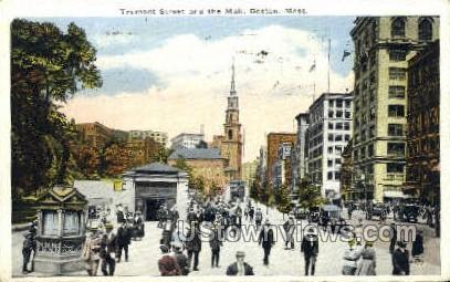 Tremont St. & Mall - Boston, Massachusetts MA Postcard