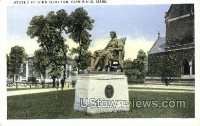 Statue of John Harvard - Cambridge, Massachusetts MA Postcard