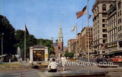 Tremont St. Mall & Park St. - Boston, Massachusetts MA Postcard