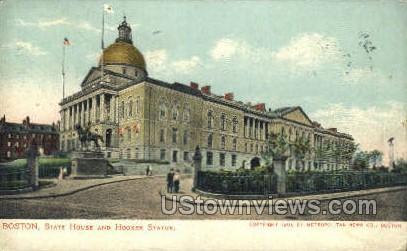 State House & Hooker Statue - Boston, Massachusetts MA Postcard