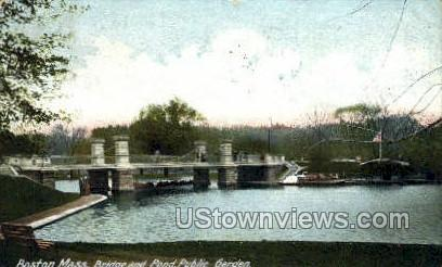 Bridge & Pond, Public Garden - Boston, Massachusetts MA Postcard