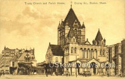 Trinity Church & Parish Home - Boston, Massachusetts MA Postcard