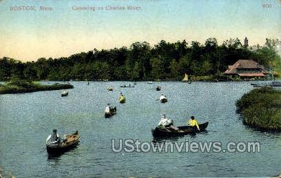 Canoeing, Charles River - Boston, Massachusetts MA Postcard