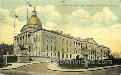 State House & Hooker Monument - Boston, Massachusetts MA Postcard