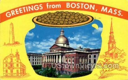 Greetings From - Boston, Massachusetts MA Postcard