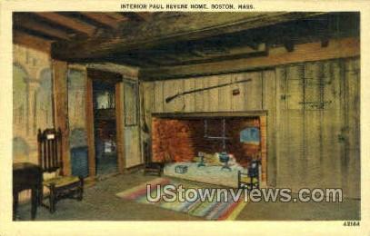 Interior, Paul Revere Home - Boston, Massachusetts MA Postcard
