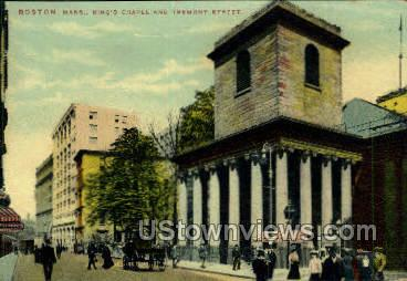 King's Chapel & Tremont St. - Boston, Massachusetts MA Postcard