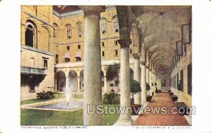 Courtyard, Public Library - Boston, Massachusetts MA Postcard