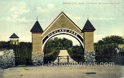 Entrance, Highland Park - Brockton, Massachusetts MA Postcard