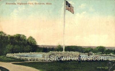 Fountain, Highland Park - Brockton, Massachusetts MA Postcard