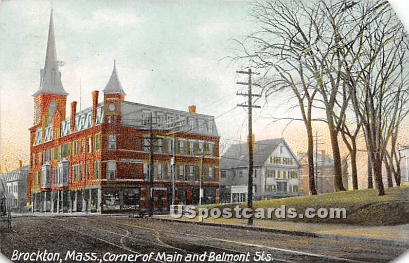Corner of Main & Belmont Streets - Brockton, Massachusetts MA Postcard