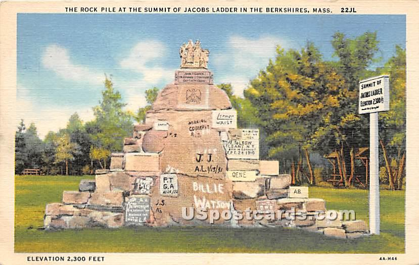 The Rock Pile at the Summit of Jacobs Ladder - Berkshire Hills, Massachusetts MA Postcard