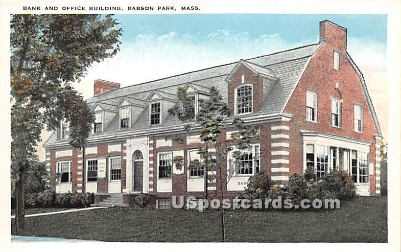 Bank and Office Building - Babson Park, Massachusetts MA Postcard