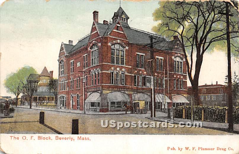 The OF Block - Beverly, Massachusetts MA Postcard