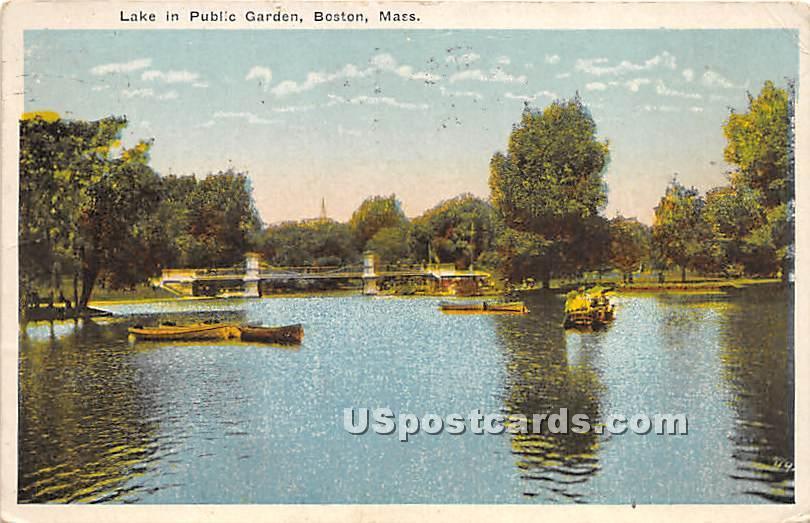 Lake in Public Garden - Boston, Massachusetts MA Postcard
