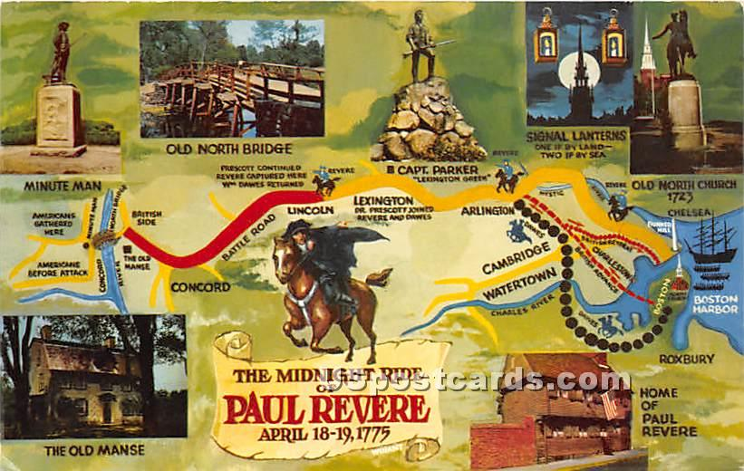 The Midnight Ride of Paul Revere April 18-19, 1775 - Boston, Massachusetts MA Postcard