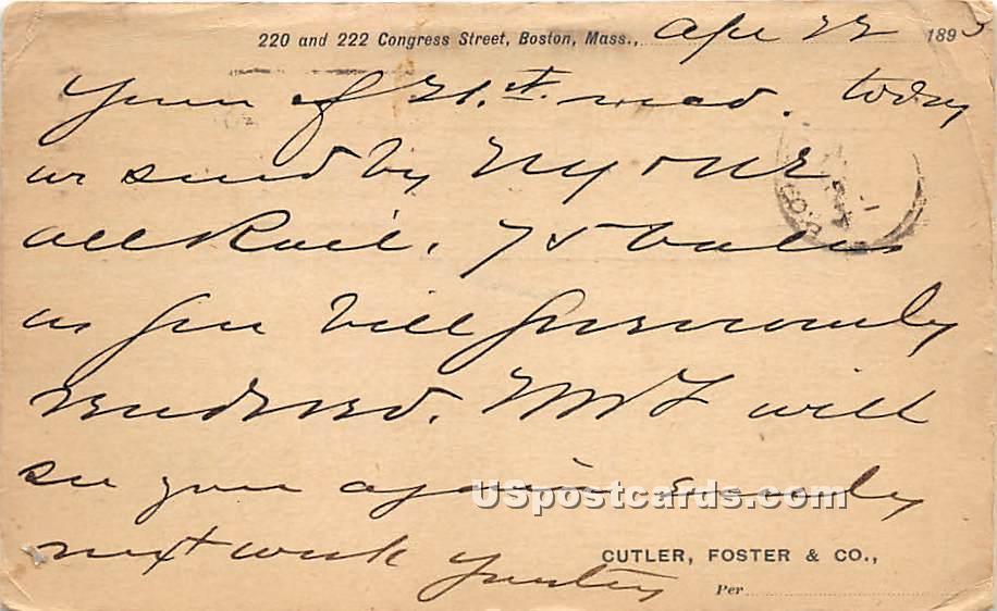 220 & 222 Congress Street Postal Used 1893 - Boston, Massachusetts MA Postcard