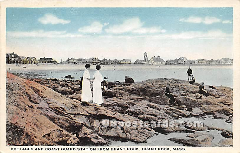Cottages & Coast Guard Station from Brant Rock - Massachusetts MA Postcard