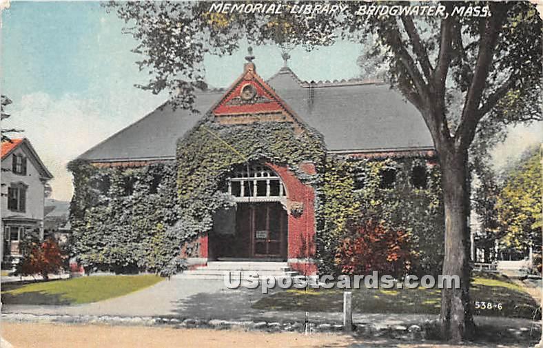 Memorial Library - Bridgewater, Massachusetts MA Postcard